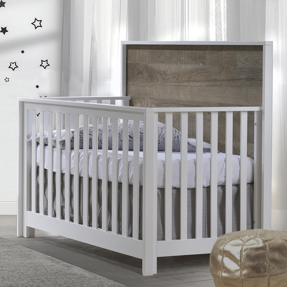 NEST Vibe Collection 5 in 1 Convertible Crib in White and Brown Bark