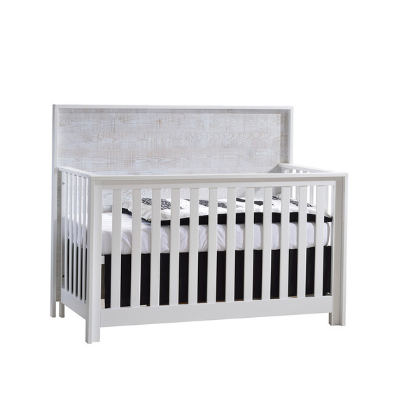 NEST Vibe Collection 5 in 1 Convertible Crib in White and White Bark
