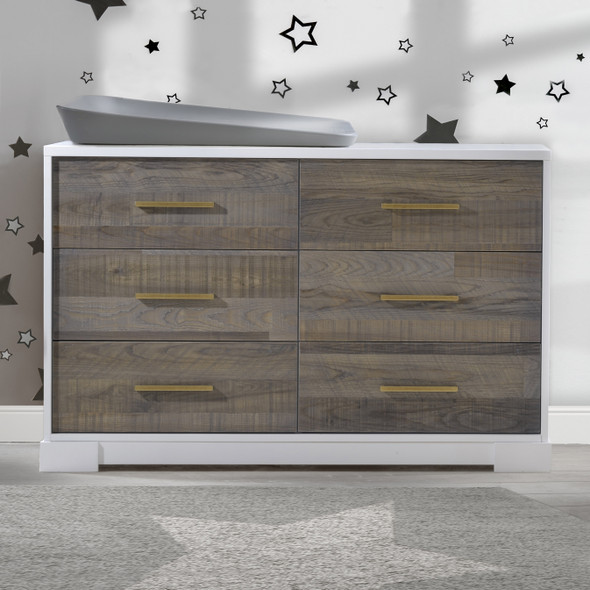 NEST Vibe Collection Double Dresser in White and Brown Bark