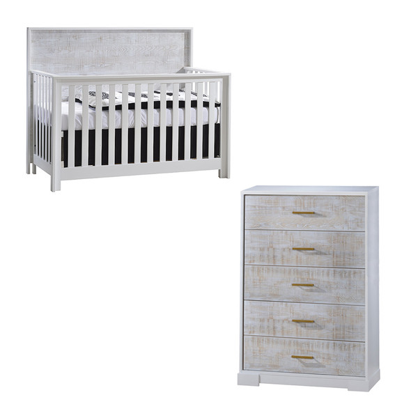 NEST Vibe Collection 2 Piece Nursery Set Crib and 5 Drawer Dresser in White and White Bark