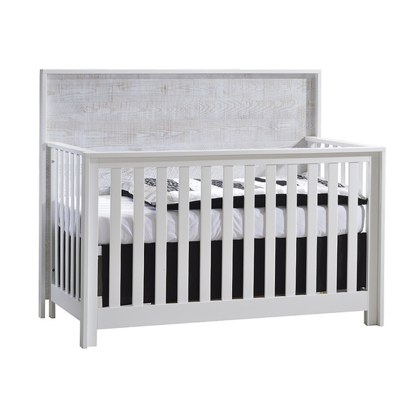 NEST Vibe Collection 2 Piece Nursery Set Crib and Double Dresser in White and White Bark