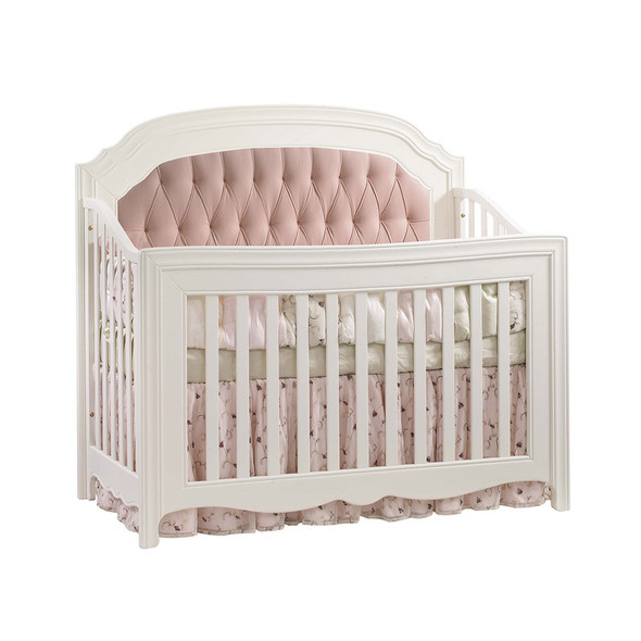 Natart Allegra Convertible Crib in French White with Blush Tufted Panel