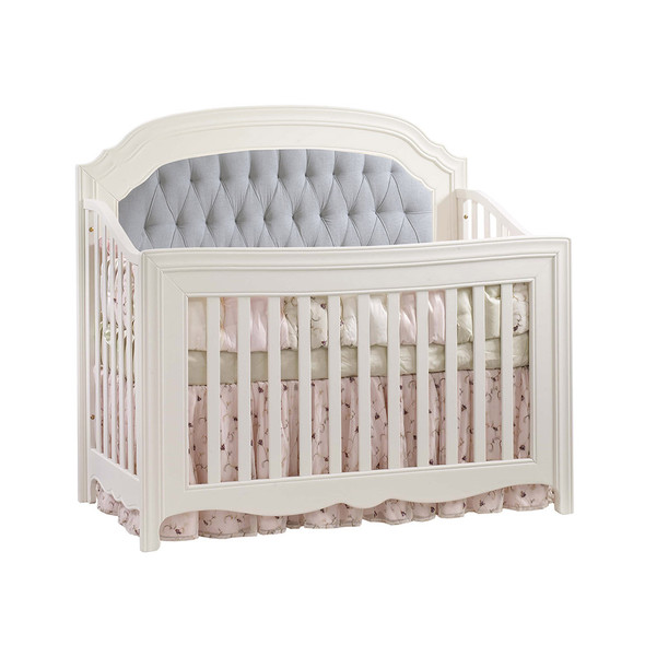Natart Allegra Convertible Crib in French White with Grey Linen Tufted Panel