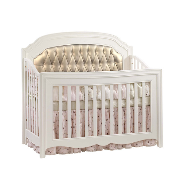 Natart Allegra Convertible Crib in French White with Platinum Tufted Panel