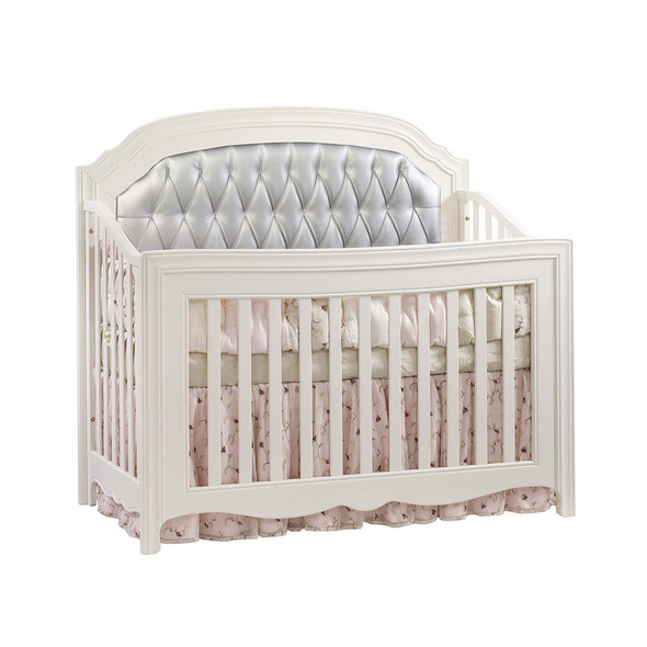 Natart Allegra Convertible Crib in French White with Silver Tufted Panel