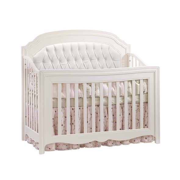 Natart Allegra Convertible Crib in French White with White Tufted Panel