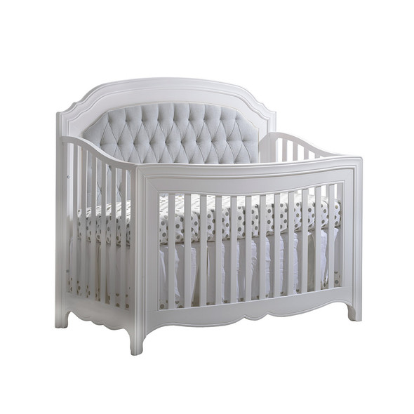 Natart Allegra Convertible Crib in Pure White with Grey Linen Tufted Panel