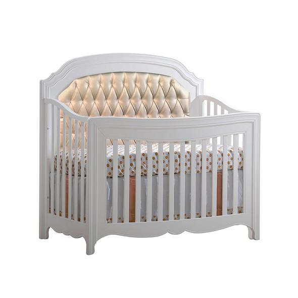 Natart Allegra Convertible Crib in Pure White with Platinum Tufted Panel