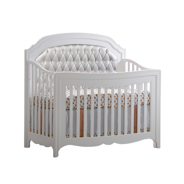 Natart Allegra Convertible Crib in Pure White with Silver Tufted Panel