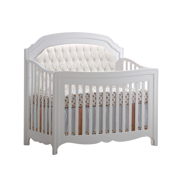Natart Allegra Convertible Crib in Pure White with White Tufted Panel