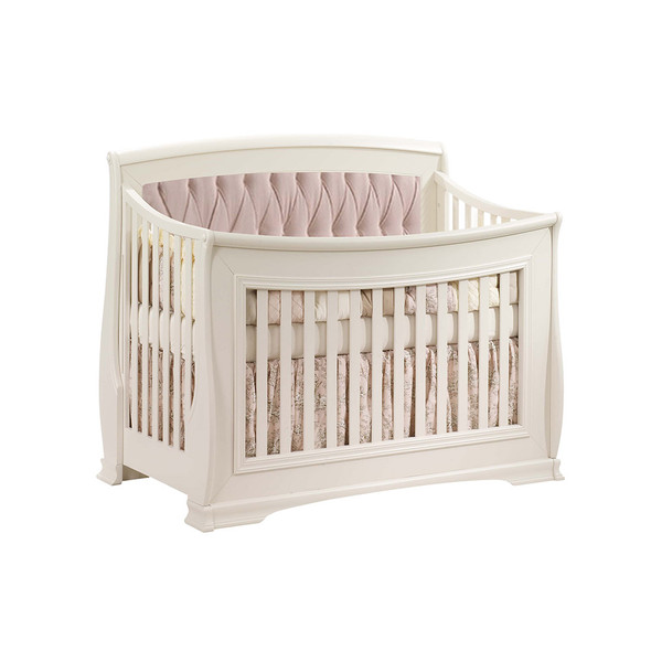 Natart Bella Convertible Crib in Linen with Blush Tufted Panel