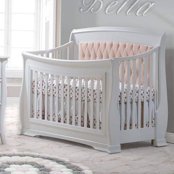 Natart Bella Convertible Crib in Pure White with Blush Tufted Panel