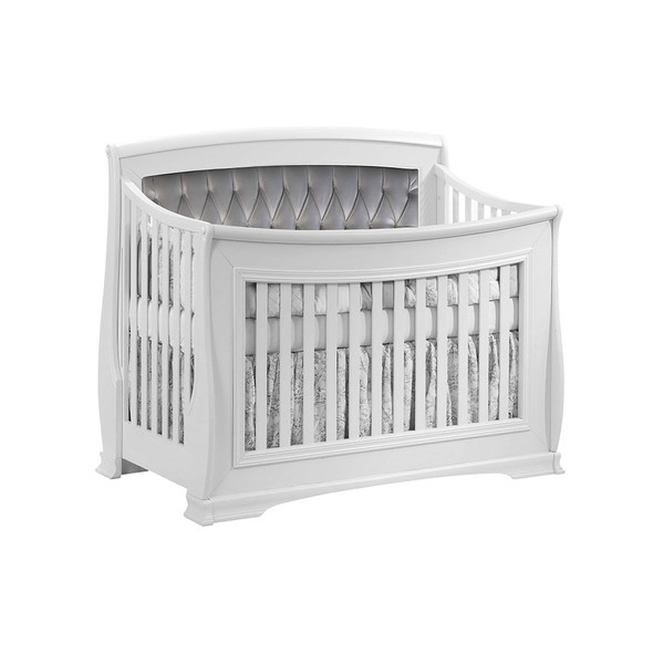 Natart Bella Convertible Crib in Pure White with Grey Linen Tufted Panel