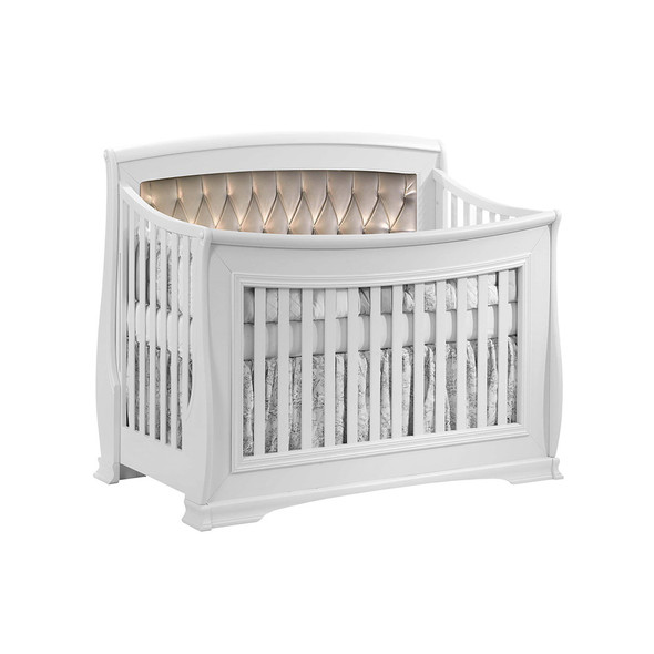 Natart Bella Convertible Crib in Pure White with Platinum Tufted Panel