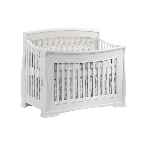 Natart Bella Convertible Crib in Pure White with White Tufted Panel