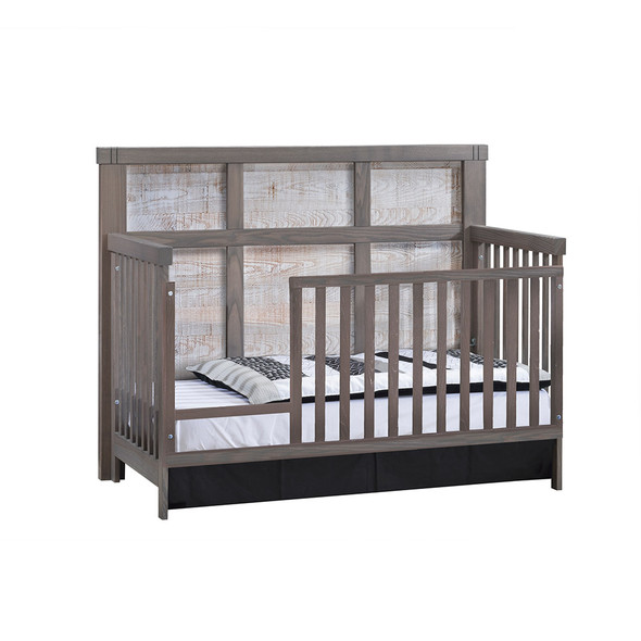 Natart Rustico Moderno Collection 4 in 1 Convertible Crib in Grigio and White Bark