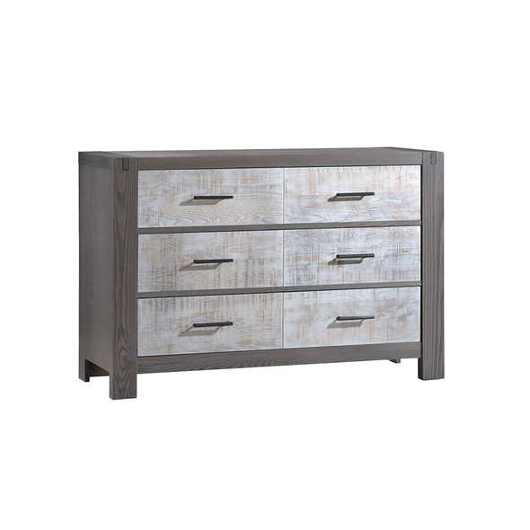 Natart Rustico Moderno Collection Double Dresser in Grigio and White Bark