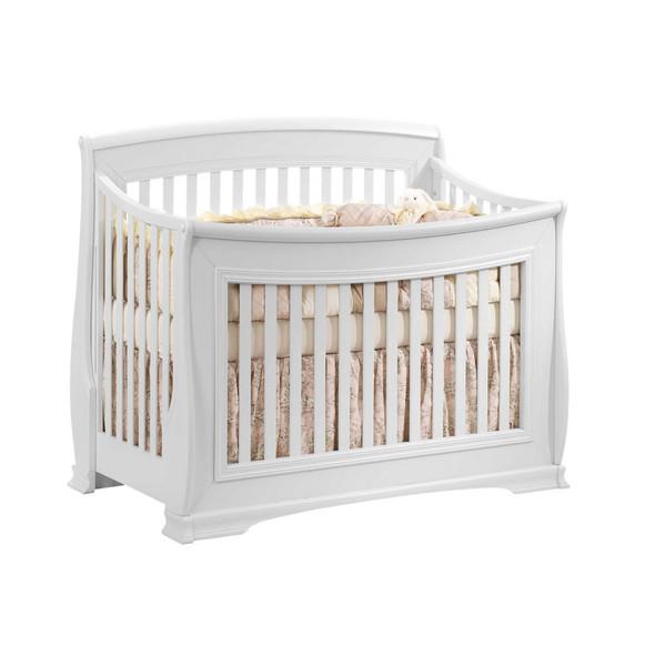 Natart Bella 2 Piece Nursery Set in Pure White-Crib and Double Dresser