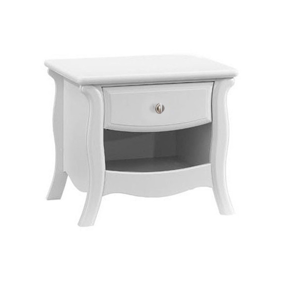 Natart Bella Collection Nightstand in Pure White