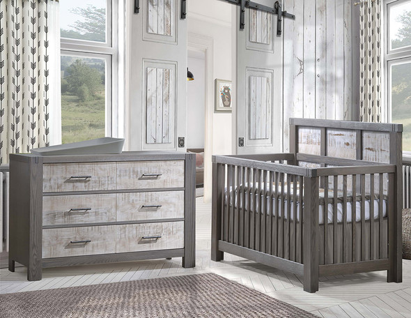 Natart Rustico Moderno Collection 2 Piece Nursery Set - Crib and Double Dresser in Grigio and White Bark