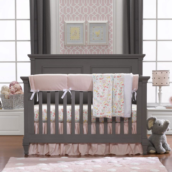 Liz and Roo Petal Pink Linens Bumperless Crib Bedding 3-Piece Set