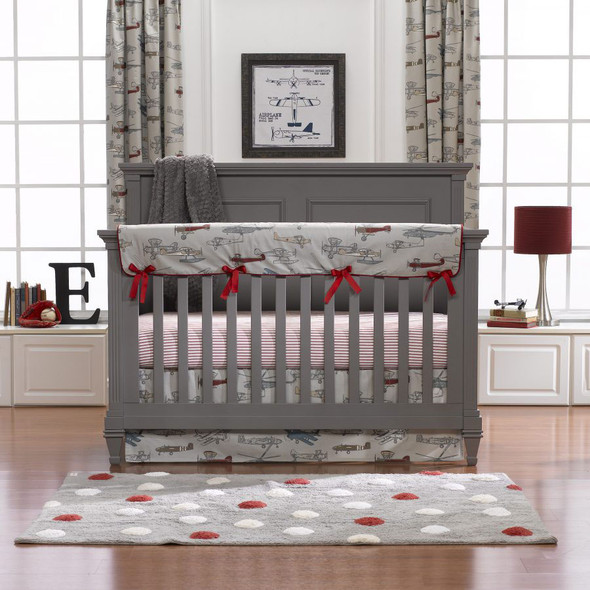 Liz and Roo Vintage Airplanes Bumperless Crib Bedding 3-Piece Set