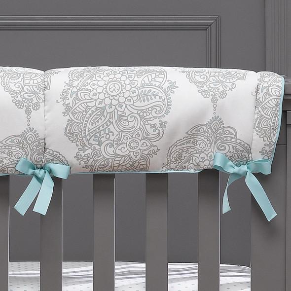Liz and Roo Harper Bumperless Crib Bedding 4-Piece Set in Taupe/Aqua