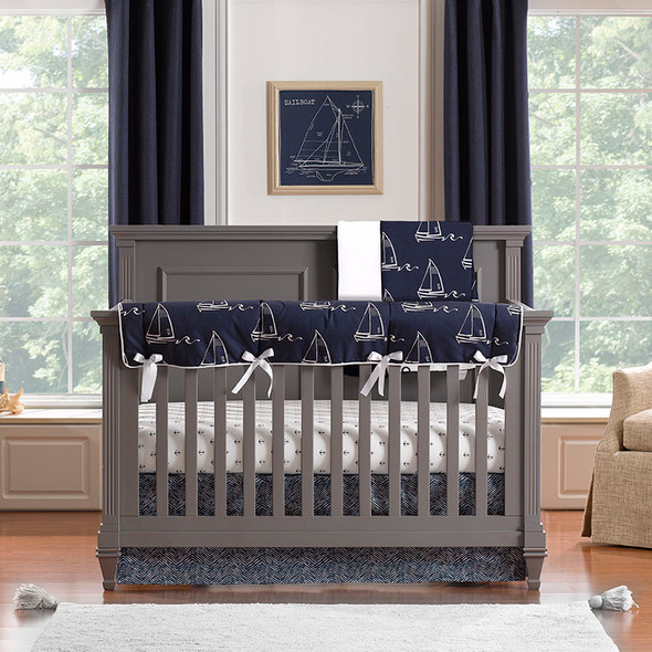 Liz and Roo Nautical Sailboat Bumperless Crib Bedding 4-Piece Set