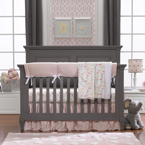 Liz and Roo Petal Pink Linens Bumperless Crib Bedding 4-Piece Set