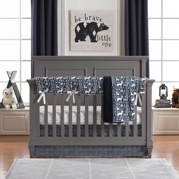 Liz and Roo Woodland Forest Bumperless Crib Bedding 4-Piece Set in Navy
