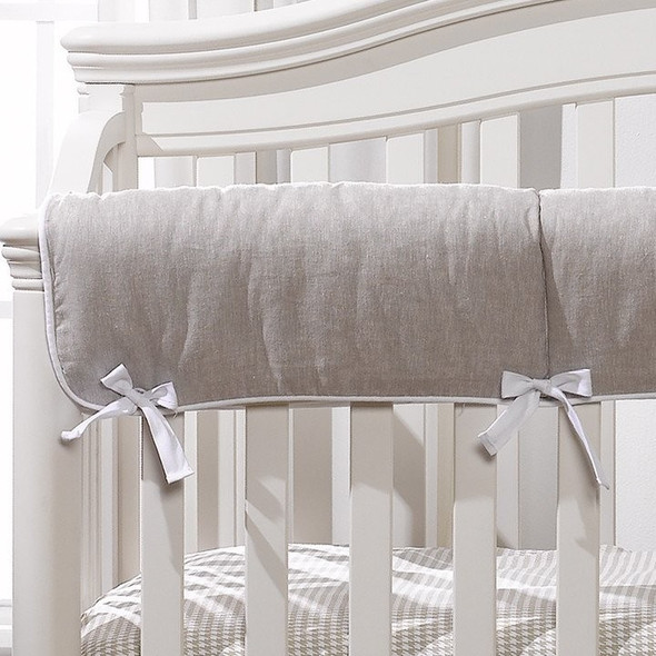 Liz and Roo Flax Linen Blend Crib Rail Cover with White Trim