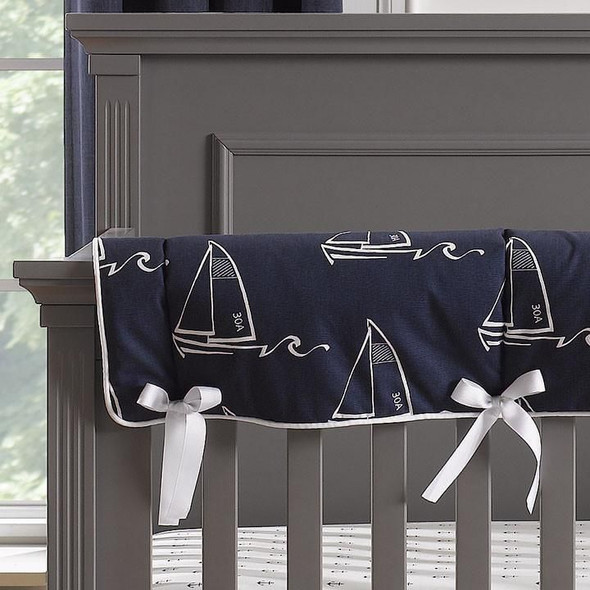 Liz and Roo Nautical Sailboats Indigo Crib Rail Cover with White Trim