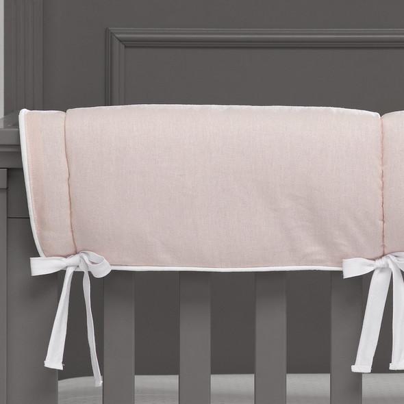 Liz and Roo Petal Pink Linen Blend Crib Rail Cover