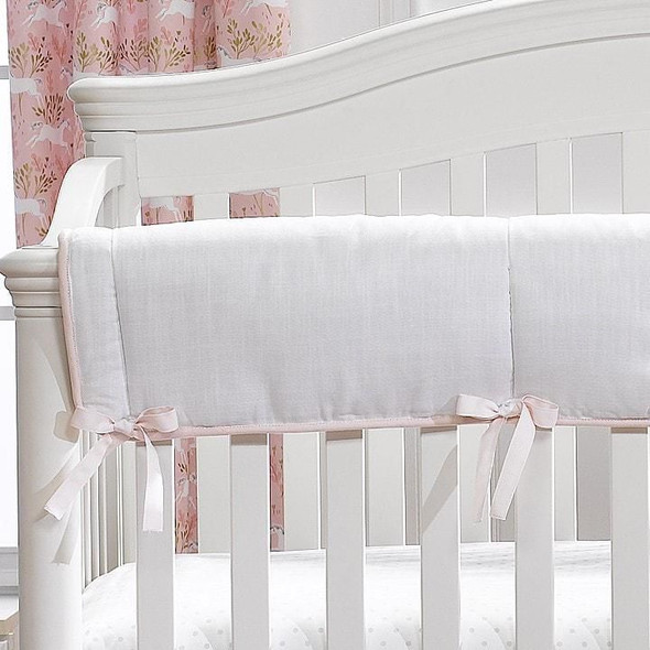 Liz and Roo White Woven Crib Rail Cover with Blush Pink Trim