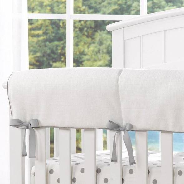 Liz and Roo White Woven Crib Rail Cover with Gray Trim
