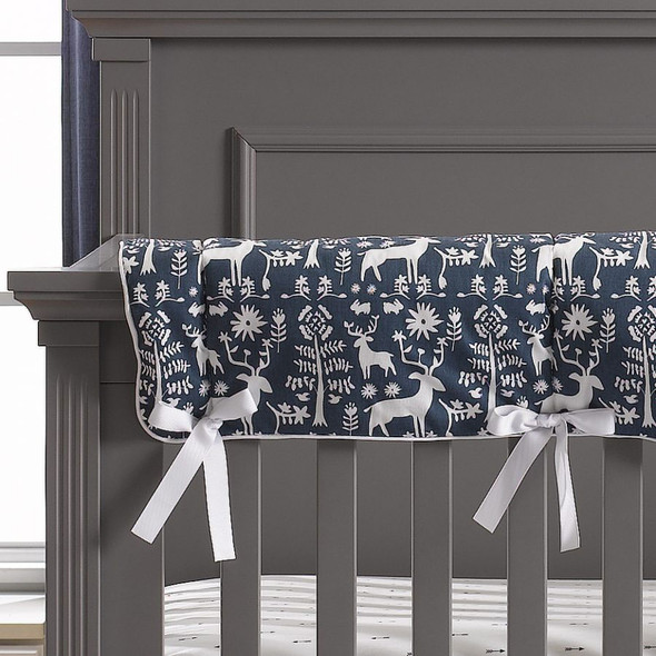 Liz and Roo Woodland Forest Navy Crib Rail Cover with White Trim