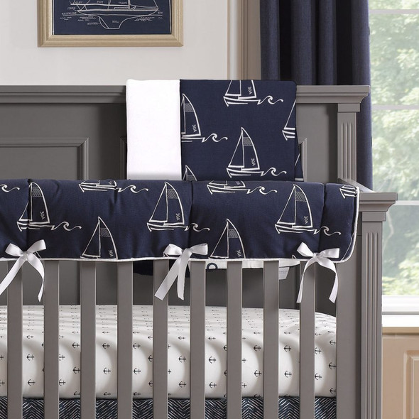 Liz and Roo Nautical Sailboats Minky Receiving Blanket in Indigo