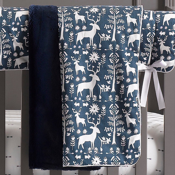 Liz and Roo Woodland Forest Minky Receiving Blanket in Navy