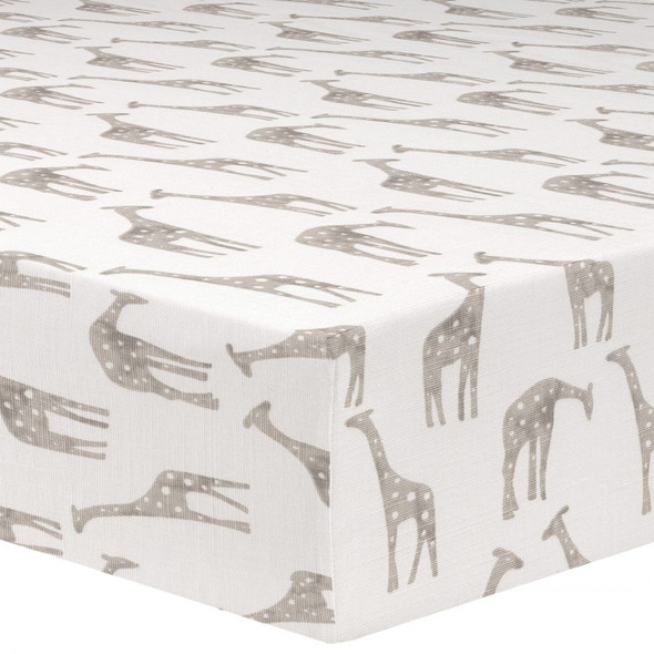 Liz and Roo Giraffe Taupe Crib Sheet