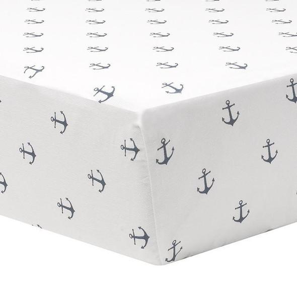 Liz and Roo Navy Mini Anchors Crib Sheet-1