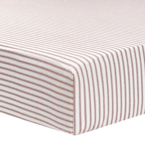 Liz and Roo Red Classic Stripe Sheet Ticking Stripe