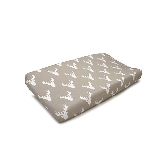 Liz and Roo Buck Woodland Contoured Changing Pad Cover in Taupe