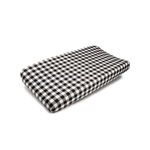 Liz and Roo Plaid Changing Pad Cover in Black and White