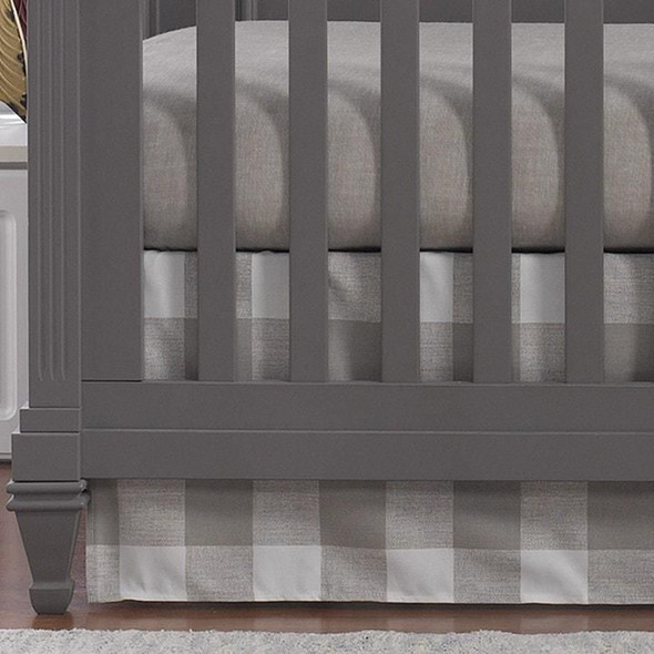 "Liz and Roo Buffalo Check Crib Skirt 17"" Drop in Tan"