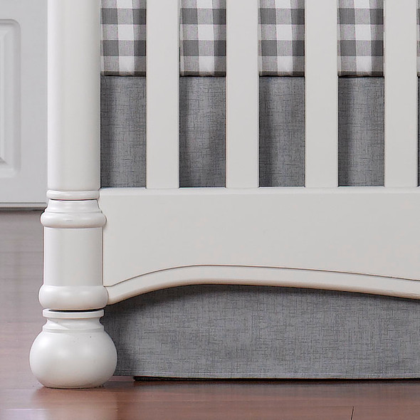 "Liz and Roo Gray Crosshatch Crib Skirt 17"" Drop"