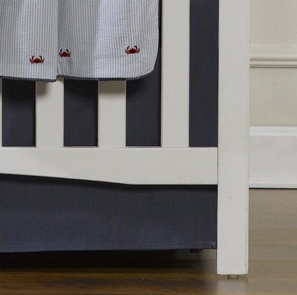 "Liz and Roo Navy Solid Crib Skirt 17"" Drop"