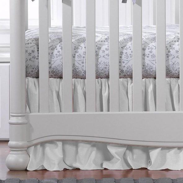 """Liz and Roo White Woven Crib Skirt Gathered 17"""" Drop"""