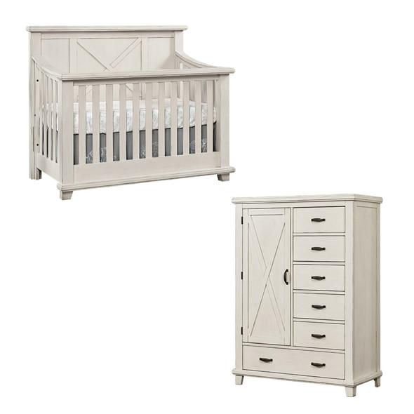 Oxford Baby Lexington 2 Piece Nursery Set - Crib & Chifferobe in Heirloom White