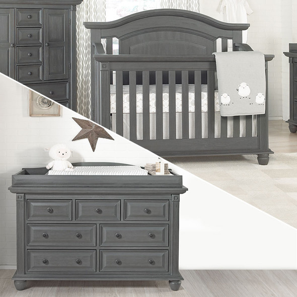Oxford Baby London Lane 2 Piece Nursery Set - Crib & Dresser in Arctic Gray