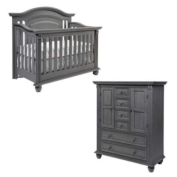 Oxford Baby London Lane 2 Piece Nursery Set - Crib & Chifferobe in Arctic Gray